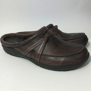 L.L Bean Brown Leather Slip On Mules Size 8.5M
